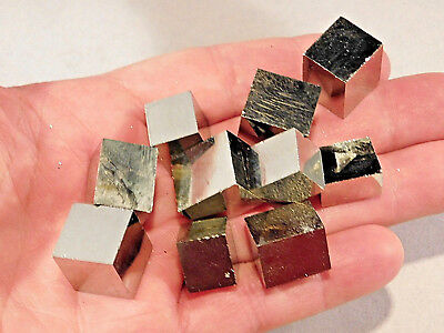 Lot of TEN! Nice! And 100% Natural AAA PYRITE Crystal Cubes! Spain 143gr e