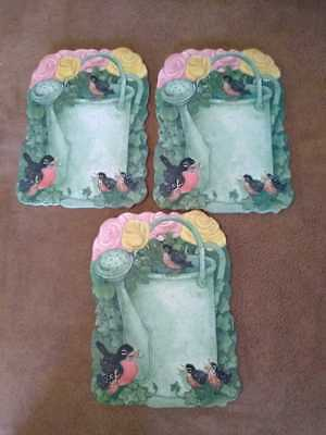 Longaberger cork backed coasters Watering can, Flowers, Birds