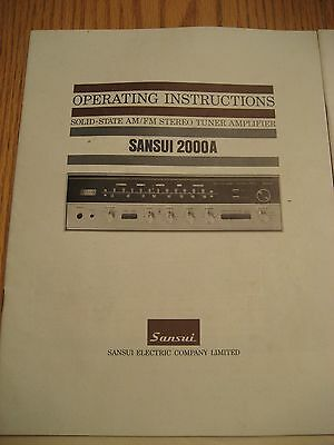 Sansui 2000A Receiver Operating Instructions Manual-Factory Original! Unmarked