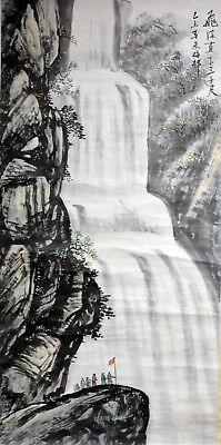Vintage Chinese Watercolor Landscape Waterfall Wall Hanging Scroll Painting