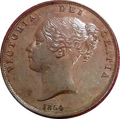 Great Britain 1854 Queen Victoria Penny Lovely About Uncirculated With Luster