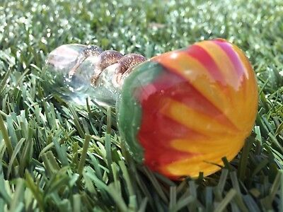 "Collectible TOBACCO Smoking Pipe Herb Glass Hand Pipes Bowl - 3.5"" Clear/ Rasta"