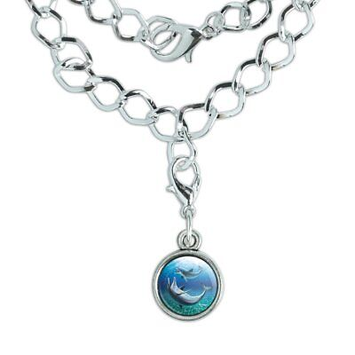Dolphin and Baby Having Fun Ocean Silver Plated Bracelet with Antiqued Charm