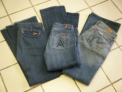 LOT of 3 Womens Jeans FIDELITY 7 FOR ALL MANKIND CITIZENS OF HUMANITY SZ 26-27
