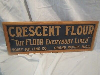 """Framed CRESCENT FLOUR STORE SIGN by Voigt Milling on Cardboard 20""""X7"""" Grand RPDS"""