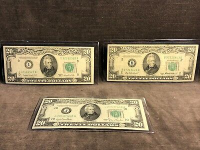 1950 BC $20 Dollar FRN Note Bill Star Lot of 3 C11