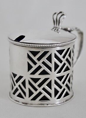 English Sterling Silver Chinese Chippendale Mustard Pot Levi & Salaman c.1913