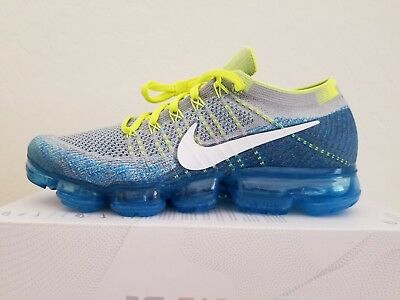 new product 1a04d ac93f Nike Air Vapormax Flyknit Wolf Grey White Chlorine Blue 849558-002 Size 10.5
