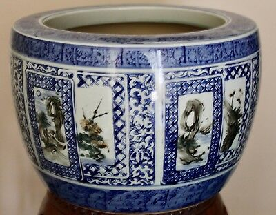"Antique Asian Japanese Blue &  White Porcelain Jardiniere Hibachi Pot 11""x16"""