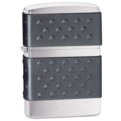 Zippo 200ZP Classic Brushed Chrome Black Zip Guard Body Windproof Pocket Lighter