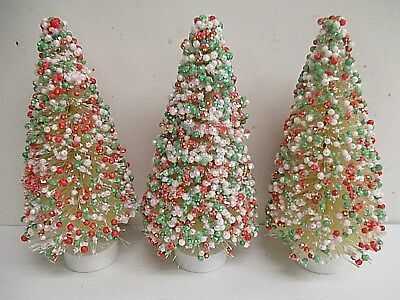 """Lot of 3 - 6"""" RED & GREEN Candy Coated Sisal Bottle Brush Tree"""