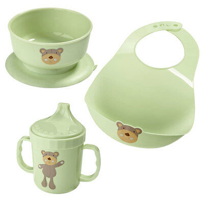 NEW AVON THREE PIECE PALE GREEN TEDDY BEAR BABY FEEDING SET 3 Mug Bowl Bib