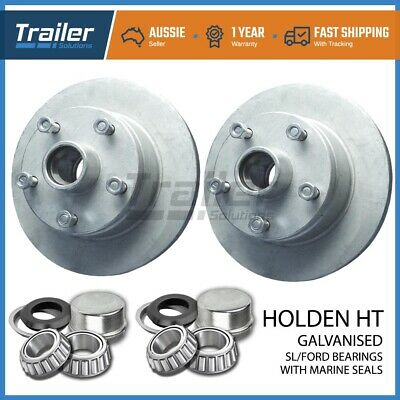 """10"""" Inch Holden Ht Trailer Disc Hubs Pair Galvanised Sl With Marine Seals Boat"""