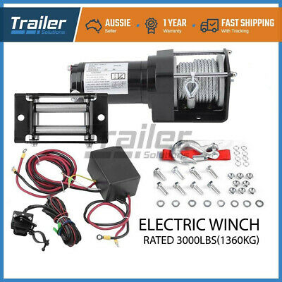 12V 3000LBS/1360kg Wireless Electric Winch High Tensile Steel Cable ATV 4WD BOAT