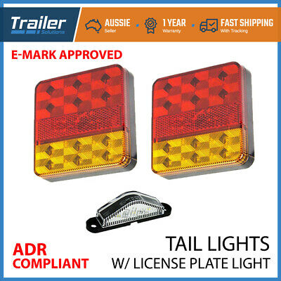 2X Square LED Trailer Tail Trailer Light Stop Indicator Lights &Number Plate
