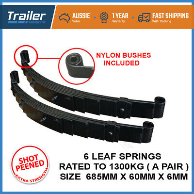 PAIR 6 LEAF EYE TO EYE TRAILER SPRINGS. 1300kg. 60MMX6MM PART CARAVAN CAMPER