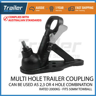 Trailer Hitch Quick Release Coupling 2 Hole Black 50Mm 2000Kg Rated Caravan Part