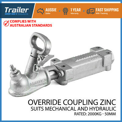 Hitch Override Coupling Zinc 50Mm 2000Kg Rated Trailer Part Mechanical/hydraulic
