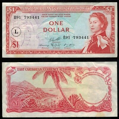1965 One Dollar Almost Uncirculated East Caribbean States P-13L ND