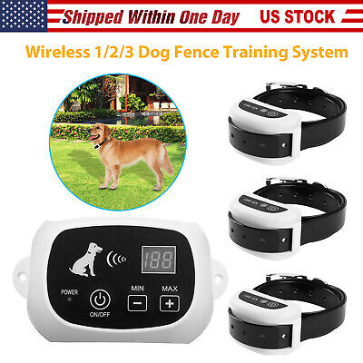 Wireless Electric Pet 1-2-3 Dog Fence Containment System Transmitter Collar NEW