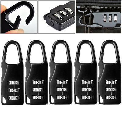 5x Portable 3 Digit Resettable Combination Travel Luggage Suitcase Lock Padlock