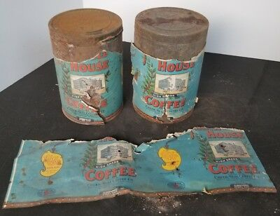 2 ANTIQUE 1920's PAPER LABEL MAXWELL HOUSE COFFEE TINS