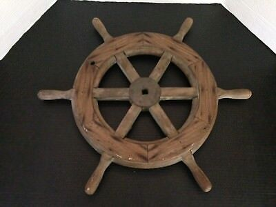 "VINTAGE AUTHENTIC Solid Wood & Brass Ship's Helm Steering Wheel 6 Handle26"" wide"