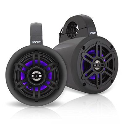 "Pyle Black 4"" Waterproof Marine Wakeboard LED Tower Speakers (Pair)"