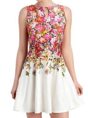 48eff749ea GABBY SKYE WOMENS 4 Yellow Floral Fit Flare Belted Sleeveless Dress ...