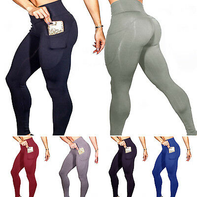 Womens Yoga Leggings Fitness Sports Gym Running Pocket Stretch Pants Trousers UK
