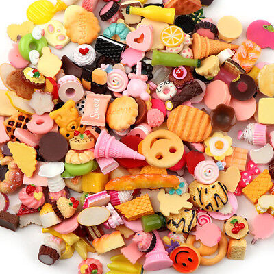 10Pcs Mixed Lot Cute Food Candy Scrapbooking Flatback Cabochons DIY Craft Kits