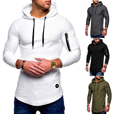 2a7992e34 Mens Casual Long Sleeve Hoodie Hooded T-Shirt Slim Fit Tee Muscle Tops  Blouse UK
