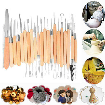 22PCS Pottery Clay Sculpture Sculpting Carving Modelling Ceramic Hobby Tools US