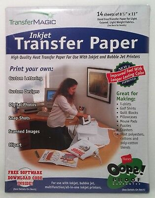 "14 Sheets Transfer Magic FXINK Ink Jet Transfer Paper 8.5"" x 11"""
