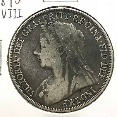 1895 LVIII Great Britain UK Queen Victoria Sterling Silver Crown: Widow Head