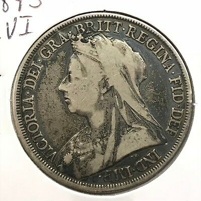 1893 LVI Great Britain UK Queen Victoria Sterling Silver Crown: Widow Head