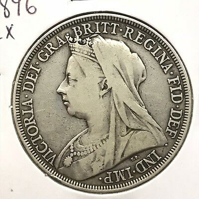 1896 LX Great Britain UK Queen Victoria Sterling Silver Crown: Widow Head