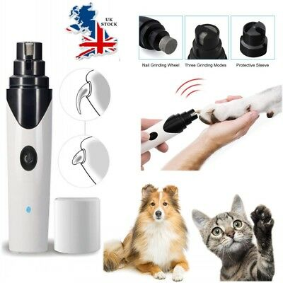 UK Premium Electric Pet Nail Grinder Paws Grooming Trimmer Dog Cat Clipper Tool