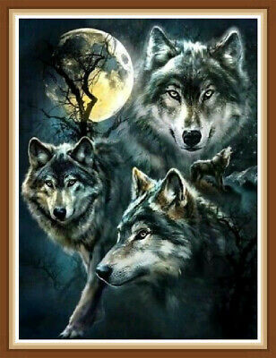 AU Wolves DIY Full Drill 5D Diamond Painting Embroidery Cross Stitch Kit HN