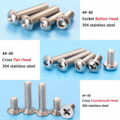 Inch series 4#-40 Stainless Button Head /Pan Head /Countersunk Head Screws Bolts