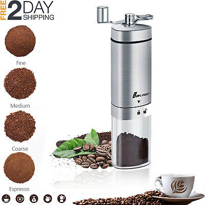 Manual Coffee Grinder Conical Burr Mill Turkish Bean Portable Hand French Press