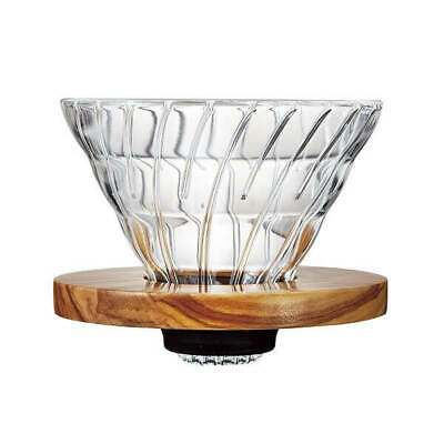 Hario V60 Glass Dripper Olive Wood - 2 Cup