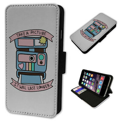 970cff9faa Cute Polaroid Camera Quote Flip Wallet Phone Cover Mobile Smart Case Card  Holder