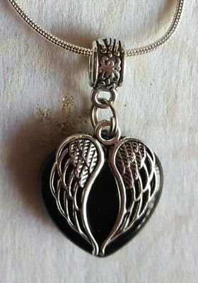 Black Onyx Gemstone Heart With Angel Wings Charm Pendant On A 50Cm Sp Necklace