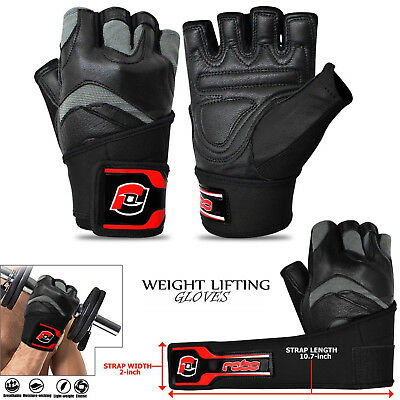 Weight Lifting Gloves Leather Gym Workout Fitness Wrist Support Body Building