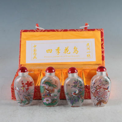 4PC Wonderful Glass Inside Painting Flower Bird Landscape Snuff / Perfume Bottle