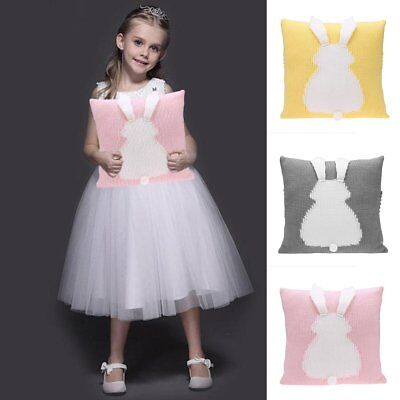 Cartoon Rabbit Chair Seat Cushion Cover Kids Baby Knitted Sofa Decor Pillow Case