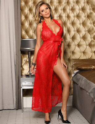 Chilli Red Plus Size Halterneck Backless Lace Full Length Chemise