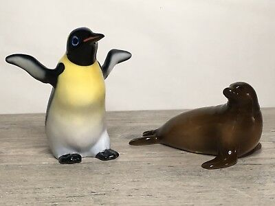 Enesco Brown Sea Lion/ Seal And Penguin Figurines