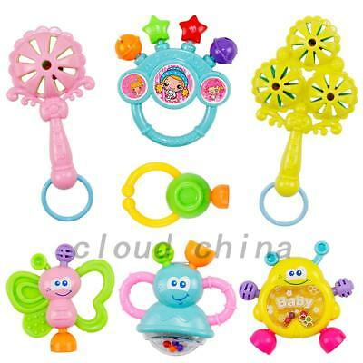 7Pcs Newborn Toddler Baby Shaking Bell Rattles Toys Kids Hand Toys Gift AU Local